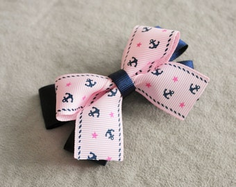 Pink Nautical Anchor and Navy Hair Bow Clip