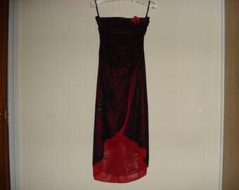 "VINTAGE Black and Red EVENING DRESS. Strapless Prom Chiffon Dress. I.N.San Francisco Co"" Dress. Size - S."