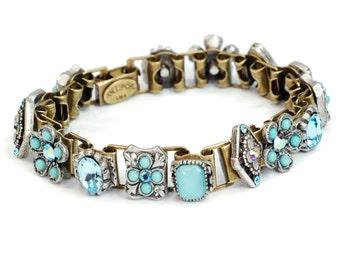 Blue Bracelet, Link Bracelet, Aqua, Southwest Country Bracelet, Cowgirl Link Bracelet, Aqua Bracelet, Light Blue Bracelet BR346-AQ
