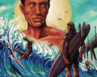 "The Duke Kahanamoku Print is a Replica of Art By Dano's Original Painting ""The Duke"""