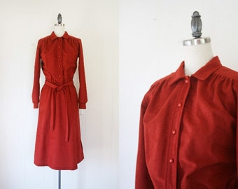 Vintage Women's Dress // Medium 70s Rust Womens Day Dress // Vintage 70s Dress
