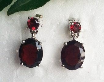 Attractive NATURAL GARNET Gemstone Earrings, Birthstone Earrings, 925 Sterling Silver Earrings, Fashion Handmade Earrings, Drop Earrings