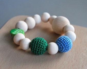 Baby Teething organic toy, Wood baby organic toy. Crochet beads toy. Organic newborn toy. Wood organic teether