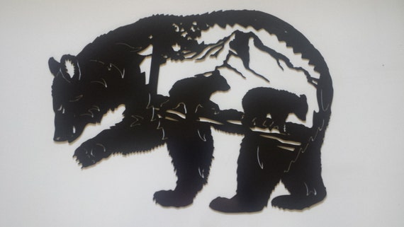 CNC Plasma Cut Metal Bear Scene Outdoor Cabin Man Cave Wall Art Powder Coated or Raw Steel