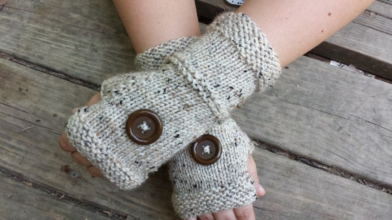 Knit Fingerless Gloves - Handmade Fingerless Gloves With Buttons - Wristwarmers - Arm Warmers - Women's Accessories - ON SALE