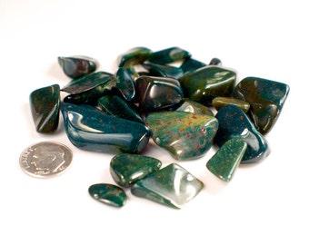 Tumbled Bloodstone (Heliotrope) - Polished Stone Lot - Home Décor Loose Stones - Tumble Bloodstone Heliotrope - 50 grams Polished Rocks
