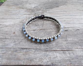 Moonstone Woven Wrap Bracelet-Silver Bead Wrap Bracelet-Moonstone Silver Bracelet
