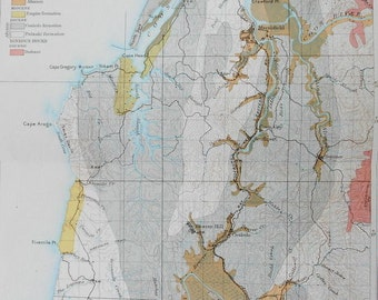 Map Coos Bay, Oregon. Original Antique Map 1899, Areal Geology Sedimentary Rocks. Vintage Decor Old Map, Julius Bien Antique Lithograph