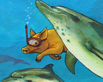 Greetings Card: PIG - THE DOLPHINS. 7x5 Fine Art Greetings Card, Acrylic Inks, Blank Inside