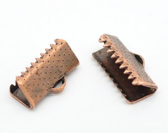 Crimp End. Antique Copper Crimp End, 13 mm x 8 mm Crimp, 10 count (CE-13x8-AC)