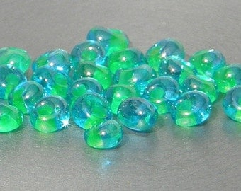 Magatama Bead, 4mm, Lime Green Lined Aqua, Toho, Seed bead, (307), 10 grams
