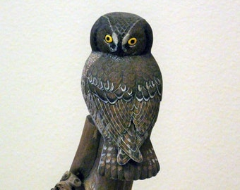 Owl Art; Bird Lover; Bird Lover Gift; Wood Owl; Owl Lover; Wooden Owl; Owl Lover Gift; Bird Carving; Wood Carved Birds; Carved Owl