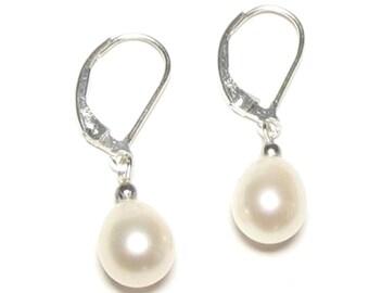 Genuine AAA White Pearl 925 Silver Lever Back Earrings