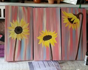 3 piece sunflower painting
