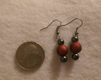 Bold Red and Grey Drop Earrings