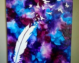 Feather and flying birds crayon art