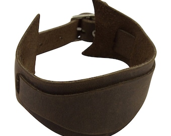 Strap Leather cuff bracelet, Unique brown leather bracelet cuff blank with central strip of leather, brown single strap cuff wristband