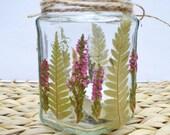 Decorated mason jar, autumn mason jar, woodland wedding, Mason jar tea light, mason candle holder, jam jar light, flower light,