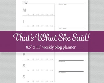 Blog Planner Printable - Weekly - Editable PDF - Standard Letter Size - Perpetual Calendar - Sassy Planners