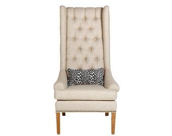 Handmade midcentury modern Miccah High wing back chair