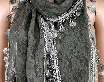 Dark gray bud silk scarf, lace scarf, shawl, scarf spring autumn decoration