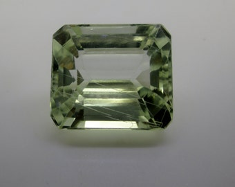 Hidenite, Green Kunzite, From Brazil,Natural,Emerald Cut,Rare Unique Hard To Find,With inside needles