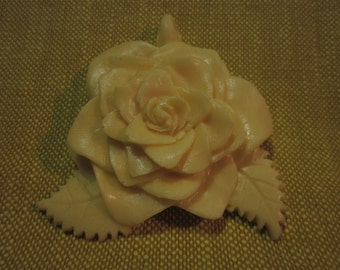"""Rose pendant, ornament,molded resin, unknown maker, for painting,2.5""""x2.5"""""""