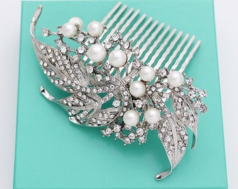 Bridal Comb Crystal Pearl Hair Piece Vintage Old Hollywood Wedding Hair Accessories Rhinestone Silver Combs Bridal Accessory Jewelry