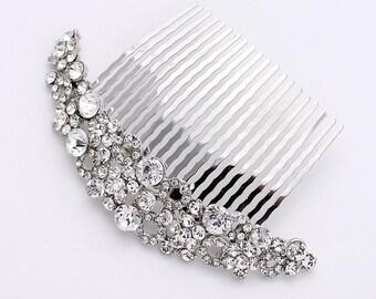 Rhinestone Bridal Comb, Wedding Hair Clip, Bridal Hair Piece, Silver Wedding Hair Accessory, Bridal Hair Jewelry, Crescent Moon Shape Comb