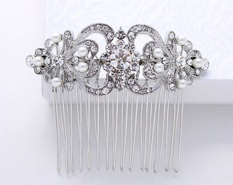 Bridal Hair Comb - Bridal Hair Accessory - Rhinestone Comb - Crystal Pearl Hair Piece - Vintage Wedding Comb