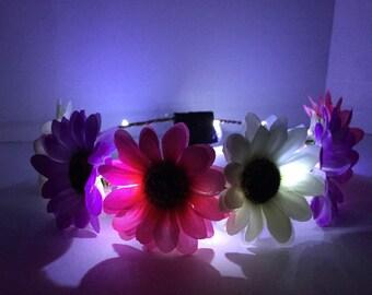 LED light up festival rave flower crown-Pastel Sunflowers