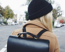 Emma - Boxy Black Leather Backpack