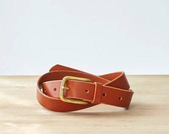 Jenny Tan Leather Hip & Waist Belt with Brass buckle
