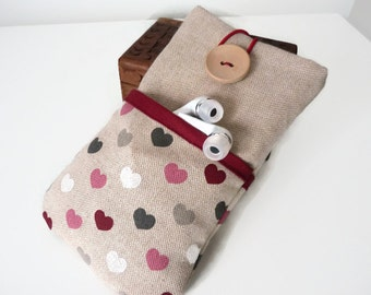 Fabric Lg V10 G4 G3 G2 Case / LG V10 G4 G3 cover /LG V10 G4 G3 G2 Sleeve /  LG V10 G4 G3 G2 pouch /  cell phone pouch Linen hearts pockets