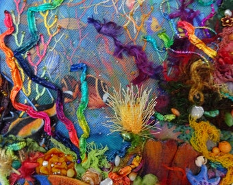 Coral Reef 3D Fiber Art, coral reef decoration, coral reef wall art, coral reef art, fiber art, seascape, 3D art, coral reef wall hanging