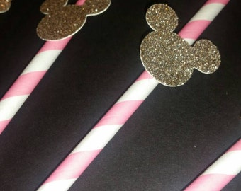 Set of 12 Pink and gold Minnie Mouse straws. Pink and gold minnie party. Minnie Mouse party decor.