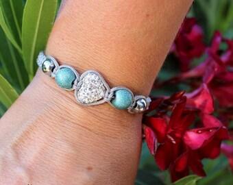 Girlfrined gift, Bead bracelet woman, Heart Bracelet, Turqoise Bracelet, Macrame jewelry, Adjustable cord bracelet, Macrame Bracelet