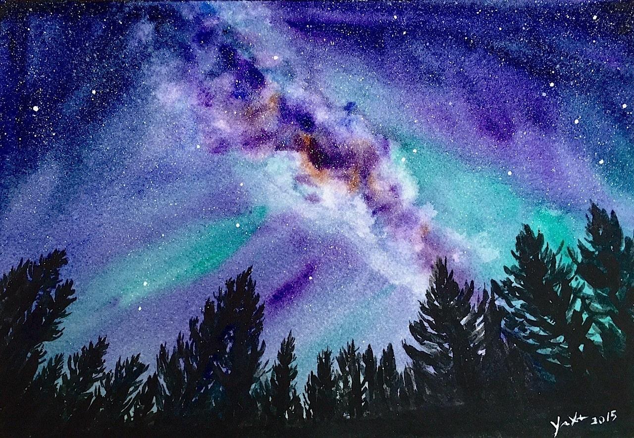 ORIGINAL Watercolor Landscape Painting Milky way Galaxy Art
