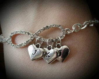Jeweled Infinity Bracelet with Hand Stamped Heart Initial Charms