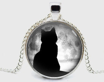 Black Cat Necklace Full Moon Necklace Halloween Necklace Pendant Jewelry Gift (with jewelry box)