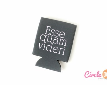 Esse Quam Videri (NC State Motto) Can Coolie - Personalized Beer/Soda Can Hugger, suited for coworker gift exchange, guy, cultural history