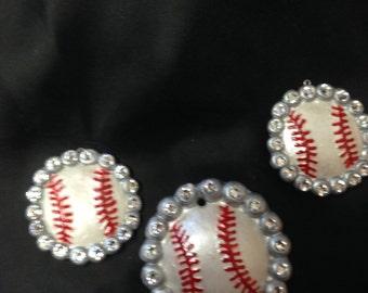 Baseball polymer clay jewelry set