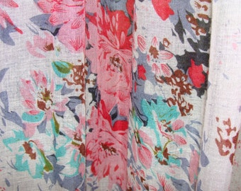 Shear Fabric/ Shabby Chic/ Gauze/Floral/ Tattered Curtains/Boho Gypsy