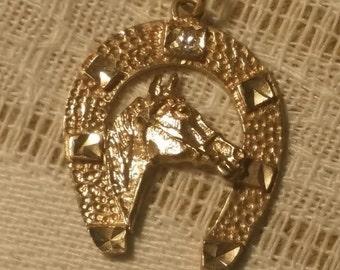 Horse shoe pendant charm Vintage Solid 10 KT GOLD & DIAMOND