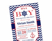 Editable PDF, Instant Download, Nautical Baby Shower Invitation, Chevron Invitation, Nautical Red Navy Party, Boys Invitation Digital, NA01