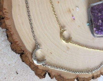 Silver and gold moon bracelet