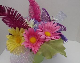 Spring Centerpiece in a Metal Bucket, Summertime Centerpiece, Table Centerpiece, Colorful Centerpiece, Butterfly Centerpiece