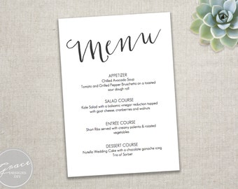 Gold and Mint Slant Menu/ DIY Template / Gold by GraceDesignsDIY
