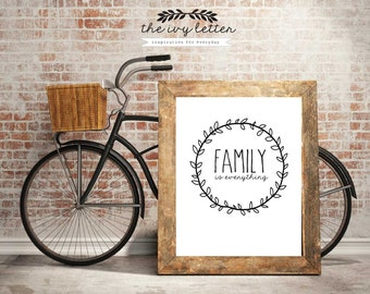 Family is Everything Poster Printable, Inspirational Quotes, Digital Prints, Black and White Art, Wall Art Prints, Digital Download,
