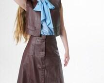 La Brazilian Bella Leather Skirt Suit Open Front Vest